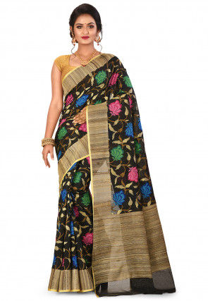 Banarasi Silk Net Handloom Saree in Black