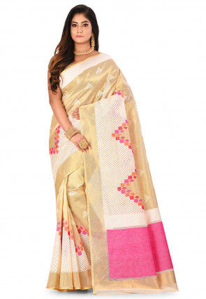 Banarasi Silk Net Handloom Saree in Golden