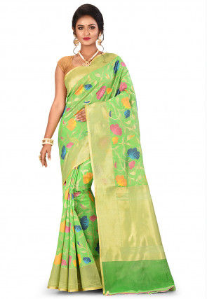 Banarasi Silk Net Handloom Saree in Light Green