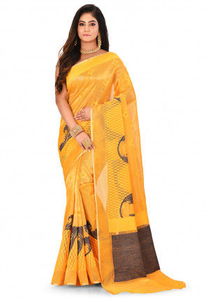 Banarasi Silk Net Handloom Saree in Mustard