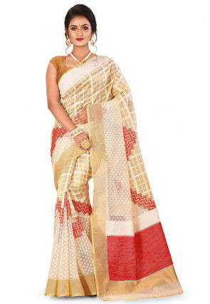 Banarasi Silk Net Handloom Saree in Off White and Golden