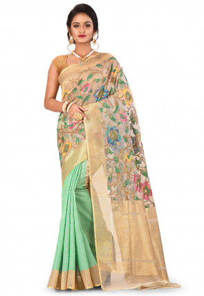 Banarasi Silk Net Handloom Saree in Pastel Green and Beige