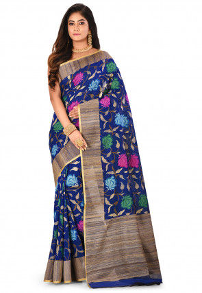 Banarasi Silk Net Handloom Saree in Royal Blue