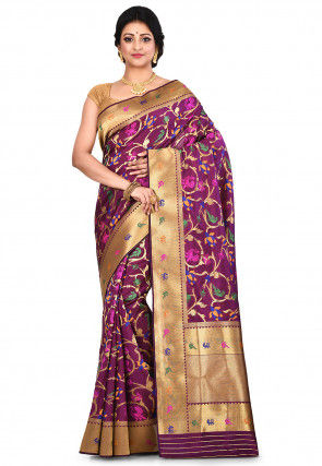 Banarasi Silk Saree in Purple