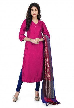 Banarasi Silk Straight Suit in Fuchsia
