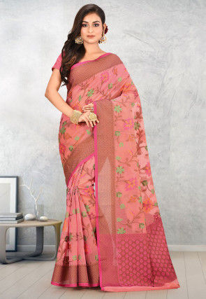 Banarasi Supernet Saree in Peach