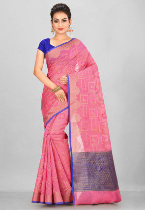 Banarasi Supernet Saree in Pink
