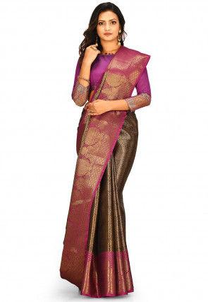 Banarasi Tissue Saree in Black and Copper