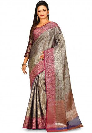 Banarasi Tissue Saree in Golden and Blue