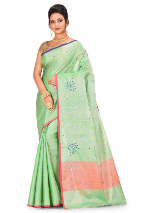 Banarasi Tissue Saree in Light Green