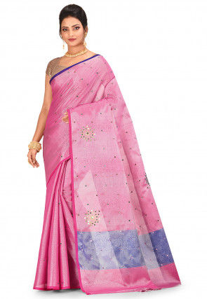 Banarasi Tissue Saree in Magenta