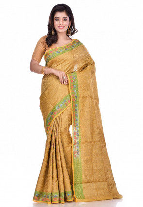 Banarasi Tussar Silk Saree in Beige