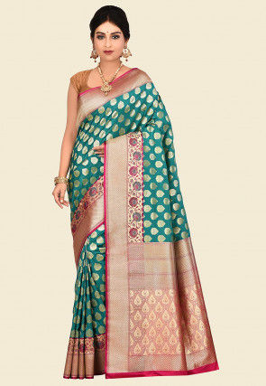 Banarasi Uppada Silk Saree in Teal Blue