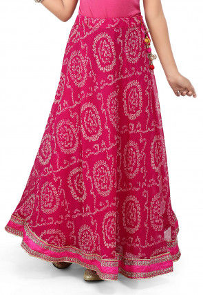 Bandhani Georgette Skirt in Fuchsia
