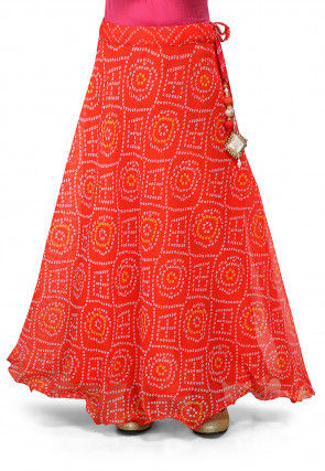 Bandhani Georgette Skirt in Red