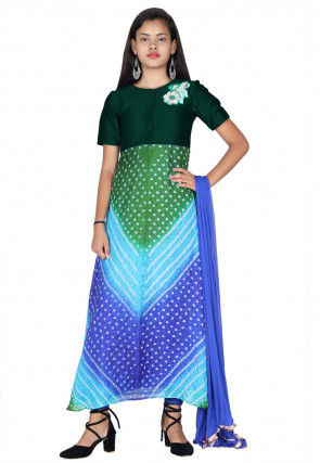Bandhej Art Silk A Line Suit in Green and Blue