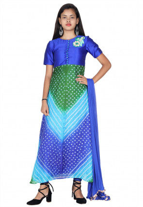 Bandhej Art Silk A Line Suit in Shaded Blue and Green