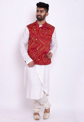 Bandhej Art Silk Asymmetric Kurta Jacket Set in White and Red