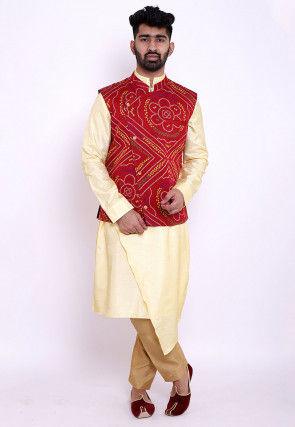 Bandhej Art Silk Asymmetric Kurta Jacket Set in Yellow and Red
