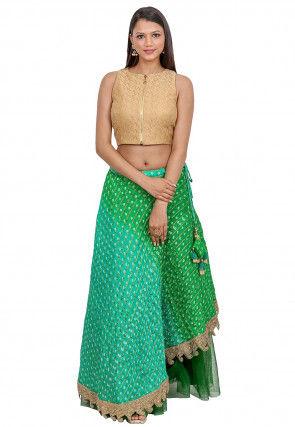 Bandhej Art Silk Crop Top N Skirt in Dark Beige and Green