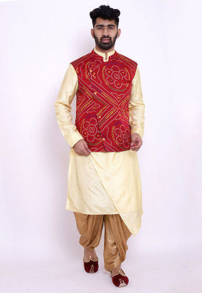 Bandhej Art Silk Dhoti Kurta Jacket Set in Light Yellow and Red
