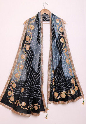 Bandhej Art Silk Dupatta in Shaded Grey and Black