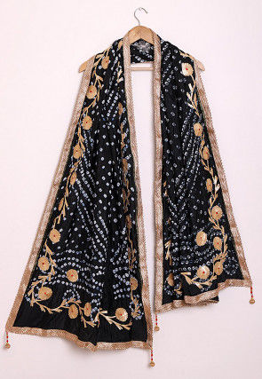Bandhej Art Silk Dupatta in Black
