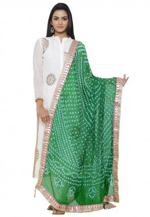 Bandhej Art Silk Dupatta in Green