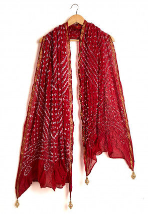 Bandhej Art Silk Dupatta in Maroon