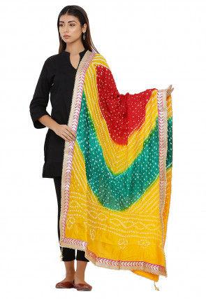 Bandhej Art Silk Dupatta in Multicolor