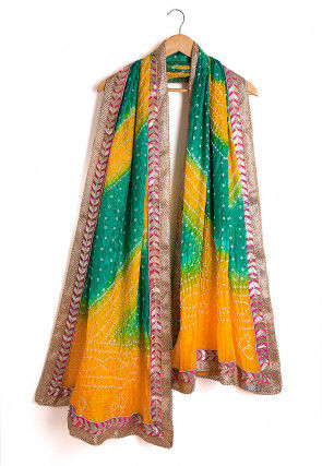 Bandhej Art Silk Dupatta in Mustard and Teal Green