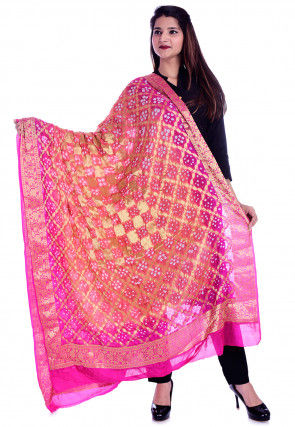 Bandhej Art Silk Dupatta in Peach and Fuchsia