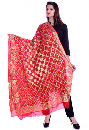 Bandhej Art Silk Dupatta in Red