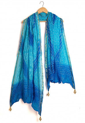 Bandhej Art Silk Dupatta in Shaded Blue