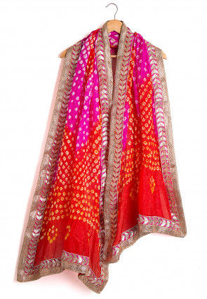 Bandhej Art Silk Dupatta in Shaded Fuchsia and Red