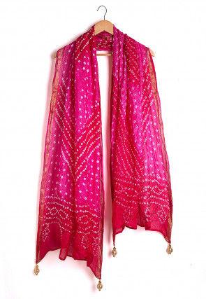 Bandhej Art Silk Dupatta in Shaded Fuchsia