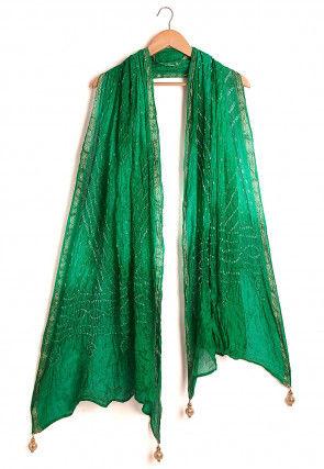 Bandhej Art Silk Dupatta in Shaded Green