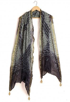 Bandhej Art Silk Dupatta in Shaded Grey and Black