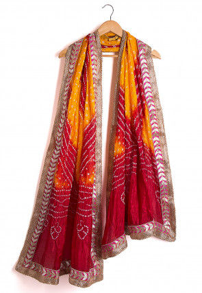 Bandhej Art Silk Dupatta in Shaded Mustard and Maroon