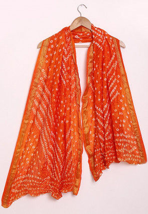 Bandhej Art Silk Dupatta in Shaded Orange
