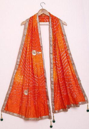 Bandhej Art Silk Dupatta in Shaded Orange