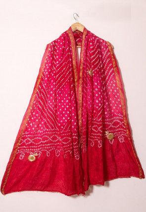 Bandhej Art Silk Dupatta in Shaded Pink