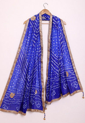 Bandhej Art Silk Dupatta in Shaded Royal Blue