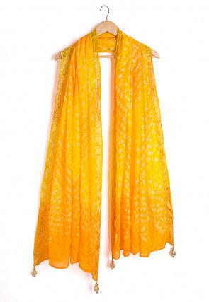 Bandhej Art Silk Dupatta in Shaded Yellow