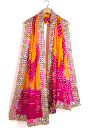 Bandhej Art Silk Dupatta in Yellow and Fuchsia