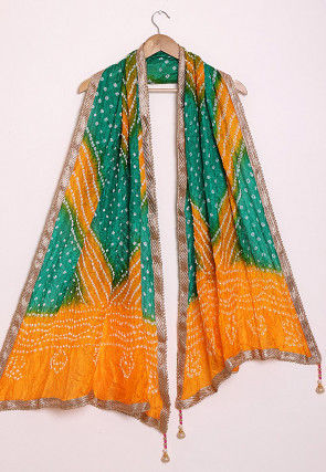 Bandhej Art Silk Dupatta in Yellow and Green