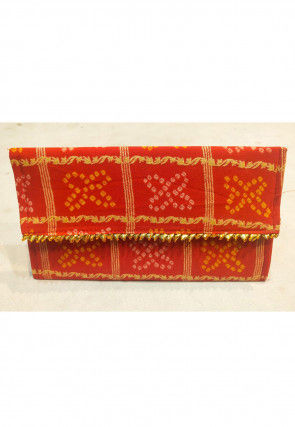 Bandhej Art Silk Envelope Clutch Bag in Orange