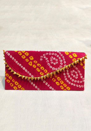 Bandhej Art Silk Envelope Clutch Bag in Red