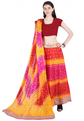 Bandhej Art Silk Lehenga in Multicolor