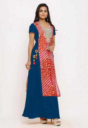 Bandhej Art Silk Long Kurta Set in Teal Blue and Red